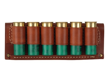 Hunter Belt Slide Shotshell Ammunition Carrier 6-Round 12 Gauge Leather Brown