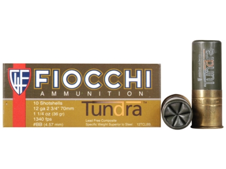 "Fiocchi Tundra Waterfowl Ammunition 12 Gauge 2-3/4"" 1-1/4 oz BB Non-Toxic Shot Box of 10"
