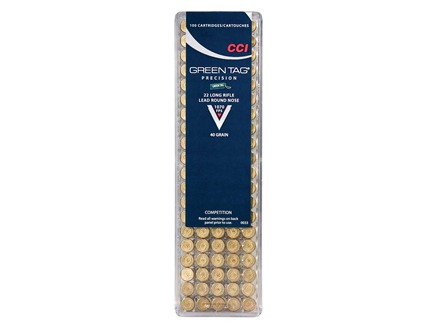 CCI Green Tag Competition Ammunition 22 Long Rifle 40 Grain Lead Round Nose Box of 100