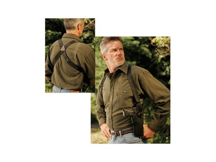 Uncle Mike&#39;s Sidekick Vertical Shoulder Holster Right Hand Medium and Large Double Action Revolvers 7&quot; to 8.5&quot; Barrel Nylon Black