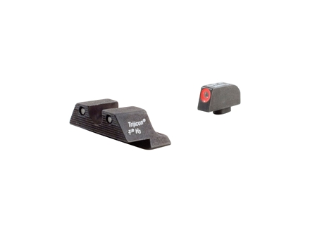 Trijicon HD Night Sight Set Glock 17, 19, 22, 23, 24, 26, 27, 33, 34, 35 Steel Matte 3-Dot Tritium Green with Orange Front Dot Outline