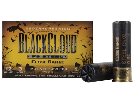 Federal Premium Black Cloud Close Range Ammunition 12 Gauge 3&quot; 1-1/4 oz #3 Non-Toxic FlightStopper Steel Shot Box of 25