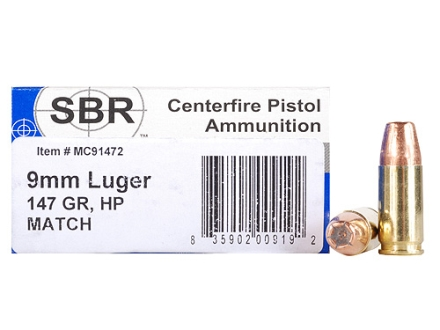SBR Match Ammunition 9mm Luger 147 Grain Jacketed Hollow Point Box of 50