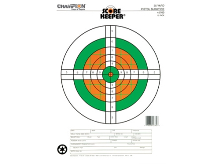 "Champion Score Keeper  25 Yard Slow Fire Pistol Target 11"" x 16"" Paper Fluorescent Orange/Green Bull Package of 12"