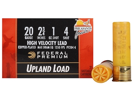 "Federal Premium Wing-Shok Pheasants Forever Ammunition 20 Gauge 2-3/4"" 1 oz Buffered #4 Copper Plated Shot Box of 25"