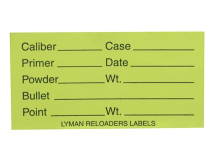 Lyman Peel and Stick Reloader&#39;s Labels Rifle/Pistol 1&quot; x 2&quot; Fluorescent Green Package of 75