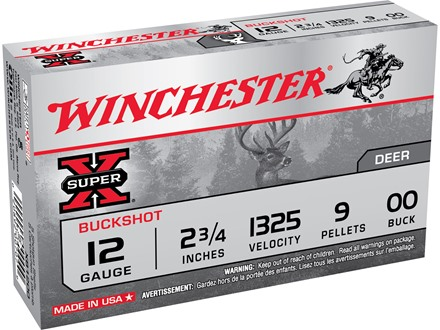 "Winchester Super-X Ammunition 12 Gauge 2-3/4"" Buffered 00 Buckshot 9 Pellets Box of 5"