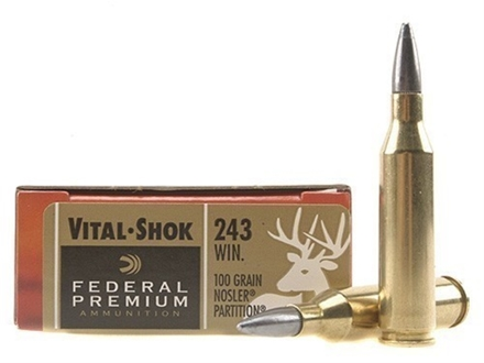 Federal Premium Vital-Shok Ammunition 243 Winchester 100 Grain Nosler Partition Moly Box of 20