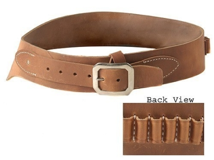 Oklahoma Leather Cowboy Drop-Loop Cartridge Belt 44, 45 Caliber Leather Brown Medium