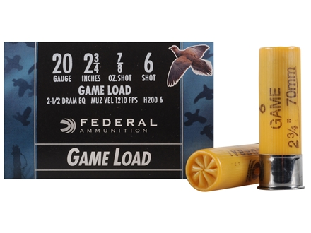 "Federal Game-Shok Field Load Ammunition 20 Gauge 2-3/4"" 7/8 oz #6 Shot Box of 25"