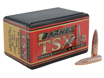 Barnes Triple-Shock X Bullets 284 Caliber, 7mm (284 Diameter) 160 Grain Hollow Point Flat Base Lead-Free Box of 50