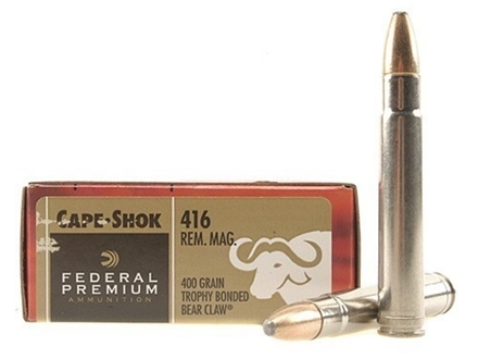 Federal Premium Cape-Shok Ammunition 416 Remington Magnum 400 Grain Speer Trophy Bonded Bear Claw Box of 20
