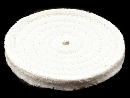 "Formax 6"" Diameter 1/2"" Thick Spiral Sewn Cotton Buffing and Polishing Wheel for 5/8"" or 1/2"" Arbor Hole"