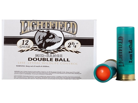 "Lightfield Wildlife Control Less Lethal Ammunition 12 Gauge 2-3/4"" Mid-Range Rubber Ball Box of 5"