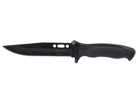 "Buck TOPS 650 Nighthawk Fixed Blade Tactical Knife 6.5"" Modified Clip Point 420 High Carbon Stainless Steel Black Oxide Coated Blade Dynaflex Rubber Handle Black"
