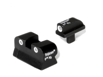 Trijicon Night Sight Set 1911 Stake-On Narrow Tenon Front & Standard GI Rear Cut Steel Matte 3-Dot Tritium Green