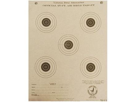 NRA Official Air Rifle Training Target TQ-5/5 25' Paper Package of 100