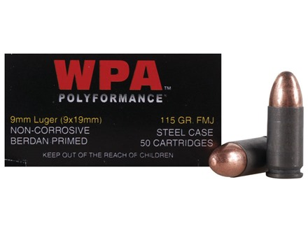 Wolf Ammunition 9mm Luger 115 Grain Full Metal Jacket (Bi-Metal) Steel Case Berdan Primed Box of 50