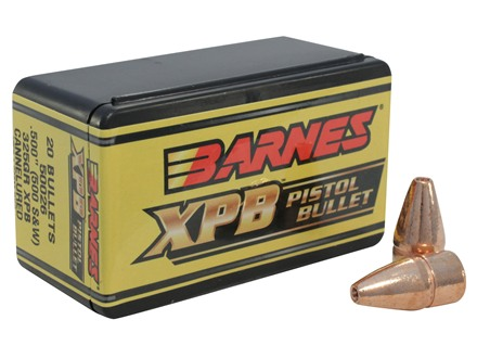 Barnes XPB Handgun Bullets 500 S&amp;W (500 Diameter) 325 Grain Solid Copper Hollow Point Lead-Free Box of 20