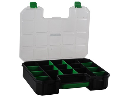 Stack-On Deluxe Parts Storage Organizer 17-Compartment Black With Clear Lid
