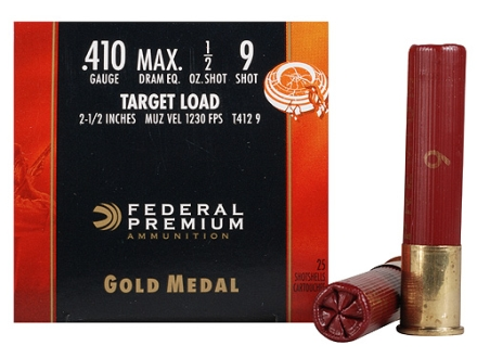 Federal Premium Gold Medal Target Ammunition 410 Bore 2-1/2&quot; 1/2 oz #9 Shot Box of 25