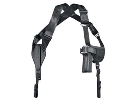 Uncle Mike&#39;s Cross-Harness Horizontal Shoulder Holster Ambidextrous Medium Double-Action Revolver 4&quot; Barrel Nylon Black