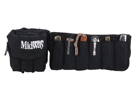 MidwayUSA Silicone Impregnated Knife Case Silcone-Treated Polyester Blend Dark Grey with White Logo