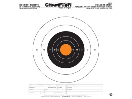 Champion Re-Stick 25 Yard Pistol Slowfire Self-Adhesive Target 14.5&quot; x 14.5&quot; Paper Pack of 25