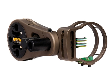 Apex Gear AG Atomic 4 Light 4-Pin Bow Sight .029&quot; Diameter Pin Ambidextrous Aluminum Brown