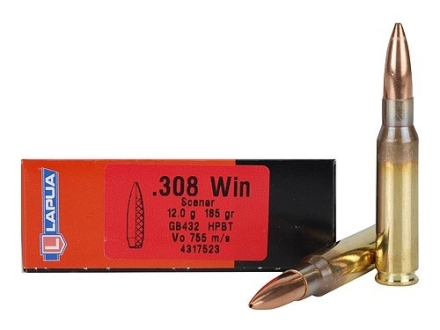 Lapua Scenar Ammunition 308 Winchester 185 Grain Hollow Point Boat Tail Box of 20