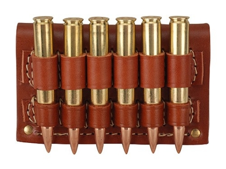 Hunter Cartridge Belt Slide Rifle Ammunition Carrier 30-06 Springfield Base 6-Round Leather Brown