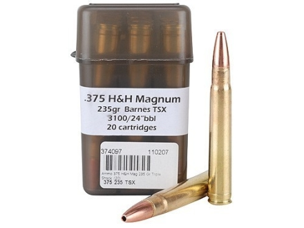 Doubletap Ammunition 375 H&amp;H Magnum 235 Grain Barnes Triple-Shock X Bullet Lead-Free Box of 20
