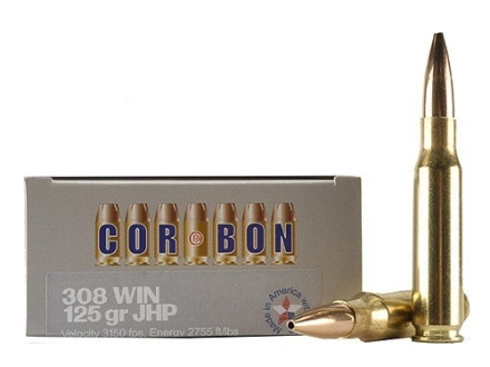 Cor-Bon Self-Defense Ammunition 308 Winchester 125 Grain Jacketed Hollow Point Box of 20