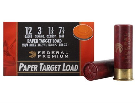 "Federal Premium Gold Medal Paper Ammunition 12 Gauge 2-3/4"" 1-1/8 oz #7-1/2 Shot"