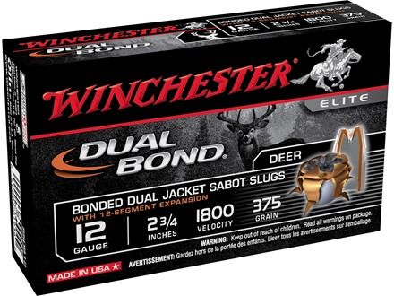 Winchester Supreme Elite Dual-Bond Ammunition 12 Gauge 2-3/4&quot; 375 Grain Jacketed Hollow Point Sabot Slug Box of 5