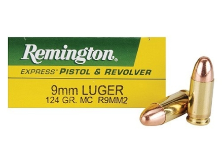 Remington Express Ammunition 9mm Luger 124 Grain Full Metal Jacket Box of 50