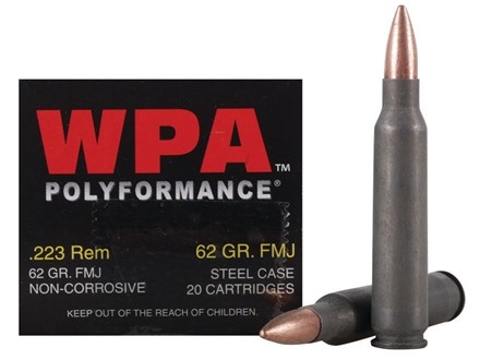 Wolf Ammunition 223 Remington 62 Grain Full Metal (Bi-Metal) Jacket Steel Case Box of 20