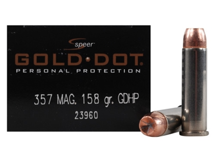 Speer Gold Dot Ammunition 357 Magnum 158 Grain Jacketed Hollow Point Box of 20