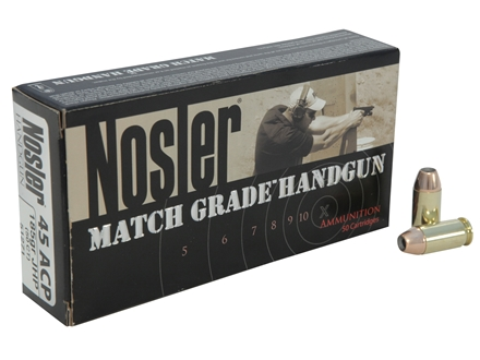 Nosler Match Grade Ammunition 45 ACP 185 Grain Jacketed Hollow Point Box of 50