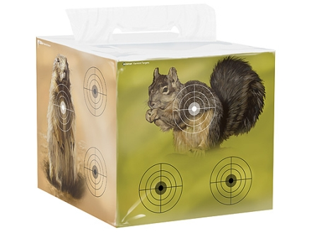 Crosman 4-Sided Varmint Airgun Target Block Crow, Squirrel, Prairie Dog or Rat Paper Target on  High Density Foam Block