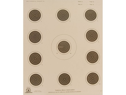 NRA Official Smallbore Rifle Target A-17 50&#39; 4 Position Paper Package of 100