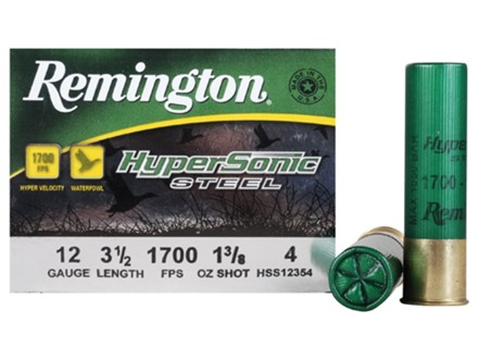 Remington HyperSonic Ammunition 12 Gauge 3-1/2&quot; 1-3/8 oz #4 Non-Toxic Steel Shot Box of 25