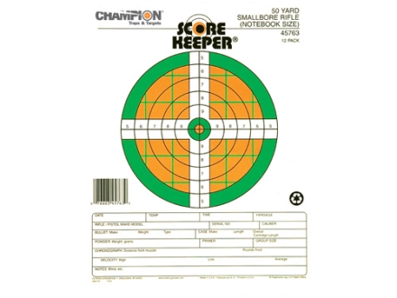"Champion Score Keeper 50 Yard Small Bore Notebook Target 8.5"" x 11"" Paper Fluorescent Orange/Green Bull Package of 12"
