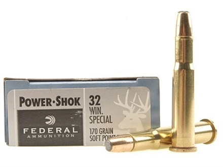 Federal Power-Shok Ammunition 32 Winchester Special 170 Grain Soft Point Flat Nose Box of 20