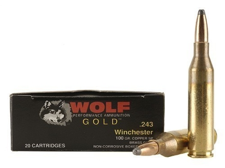Wolf Gold Ammunition 243 Winchester 100 Grain Soft Point Box of 20