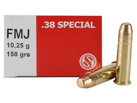 Sellier &amp; Bellot Ammunition 38 Special 158 Grain Full Metal Jacket Box of 50