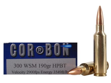 Cor-Bon Performance Match Ammunition 300 Winchester Short Magnum (WSM) 190 Grain Hollow Point Boat Tail Box of 20