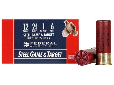 "Federal Game & Target Ammunition 12 Gauge 2-3/4"" 1 oz #6 Non-Toxic Steel Shot Box of 25"