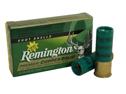 "Remington Premier Ammunition 12 Gauge 2-3/4"" 1 oz Copper Solid Sabot Slug Lead-Free Box of 5"