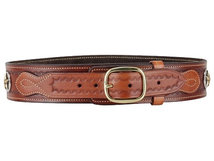 Ross Leather Classic Cartridge Belt 45 Caliber Leather with Tooling and Conchos Tan 48&quot;